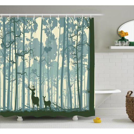 Deer shower curtain set silhouette of animal in foggy for Nature inspired shower curtains