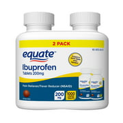 Equate Ibuprofen Tablets 200 mg, Pain Reliever/Fever Reducer, Twin Pack, 500 Count