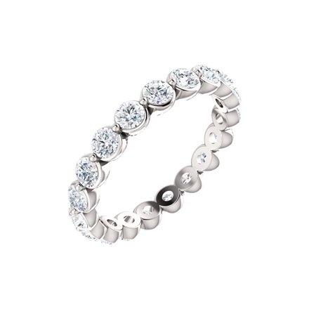 14k White Gold 1 1/6 Ct Diamond Anniversary Wedding Eternity Band - Size 4