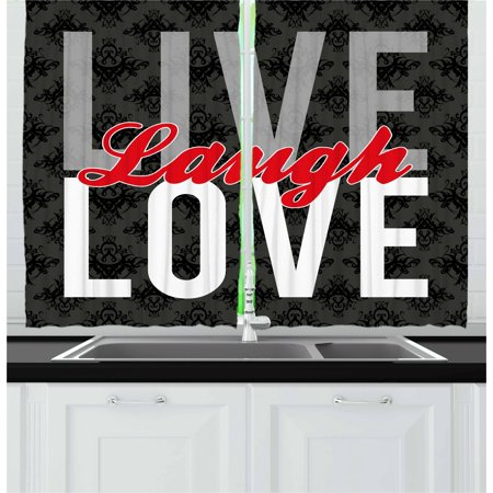 Live Laugh Love Curtains 2 Panels Set, Different Typed Words of Wisdom Victorian Antique Damask Motifs Tile Print, Window Drapes for Living Room Bedroom, 55W X 39L Inches, Multicolor, by (Best Windows 8 Live Tiles)