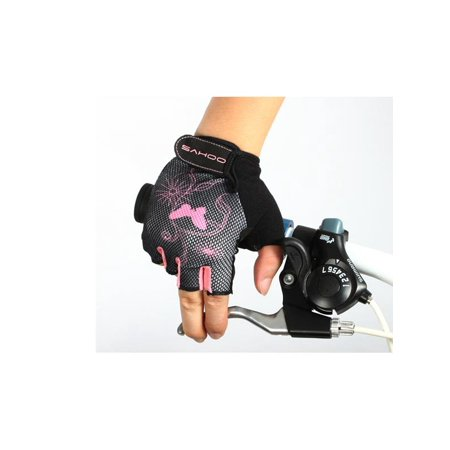 1 Pair Female Half Finger Halbfingerhandschuhe Cycling Gloves Bike Gauntlets Bicycle Mitten Black &