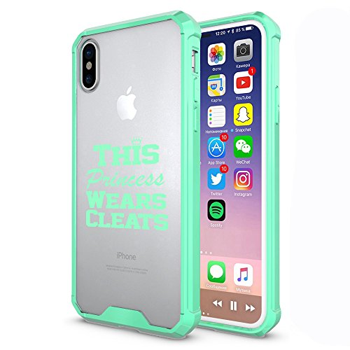For Apple iPhone X Clear Shockproof Bumper Case Hard Cover This Princess Wears Cleats Softball Soccer Lacrosse (Mint)