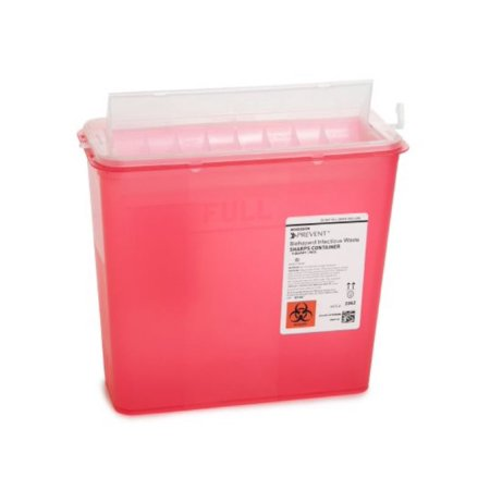 Prevent 2-Piece Horizontal Entry Lid Sharps Container 2262, 10.75H x 10.5W x 4.75D Inch, 5 Quart, 1 Each, Red
