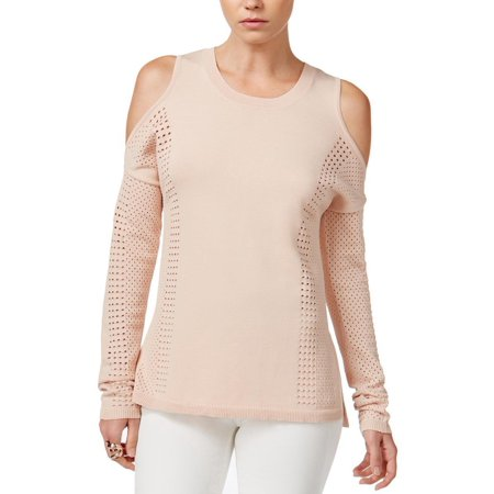 Bar III Perforated Cold Shoulder Sweater Top