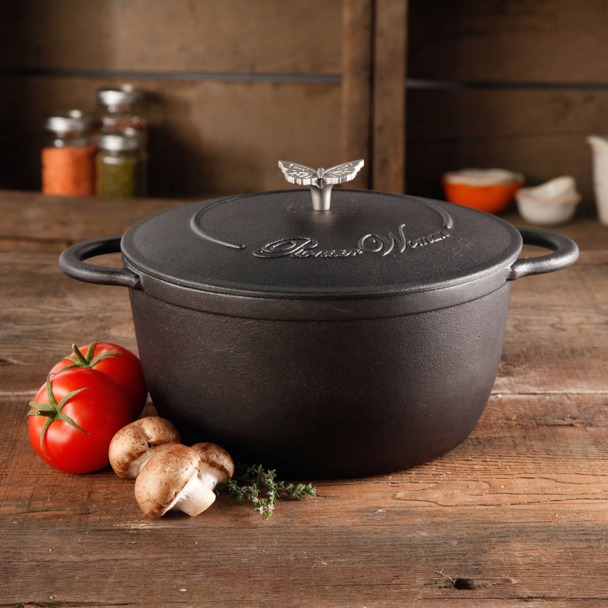 The Pioneer Woman Timeless Cast Iron 5-Quart Pre-Seasoned Dutch Oven with Lid, Bakelight Knob & Stainless Steel Butterfly Knob