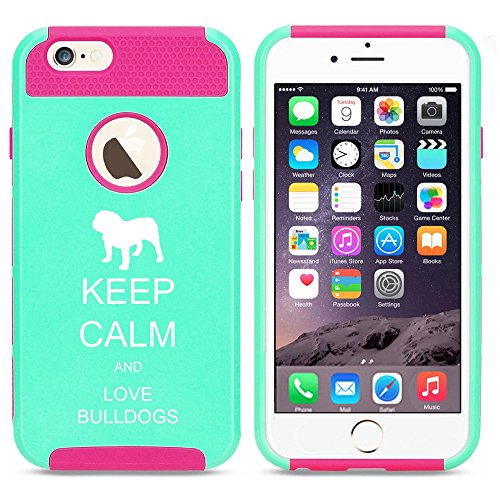 Apple iPhone 6 6s Shockproof Impact Hard Case Cover Keep Calm and Love Bulldogs (Light Blue-Hot Pink),MIP