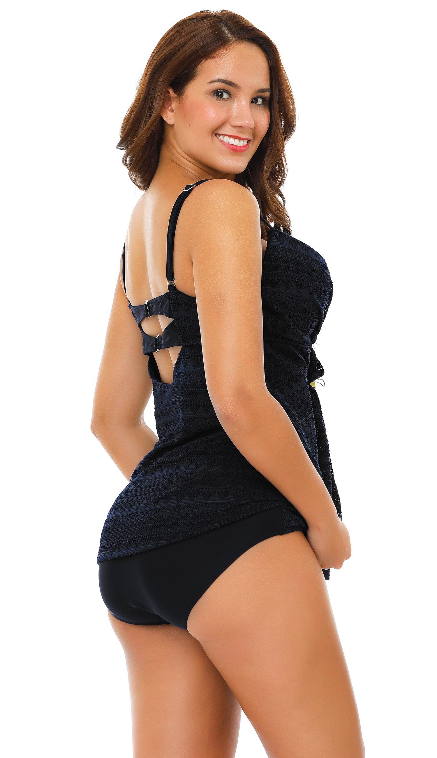 72eb83aca7704 SENFLOCO - Senfloco Women Plus Size Swimwear Tankini Set Sexy 2pcs Swimsuit  Layer Design Bathing Suit with Bra Top (Black, L-4XL) - Walmart.com