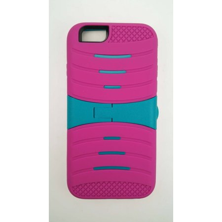 """For Apple iPhone 6 6S 4.7"""" Screen Display - Wydan Hybrid Ripple 3 Piece Snap On Plastic Soft Rubberized Non Slip Silicone Cover Shock Resistant Protective Kickstand Phone Case Pink on Teal"""