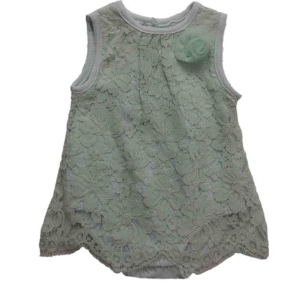 Infant Toddler Girls Mint Bodysuit Flapper Dress Floral Lace Single Outfit