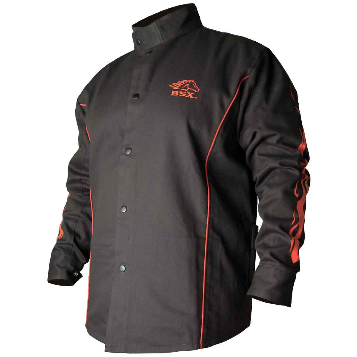 Black Stallion BSX BX9C 9oz. FR Cotton Welding Jacket Black W Red Flames, Small