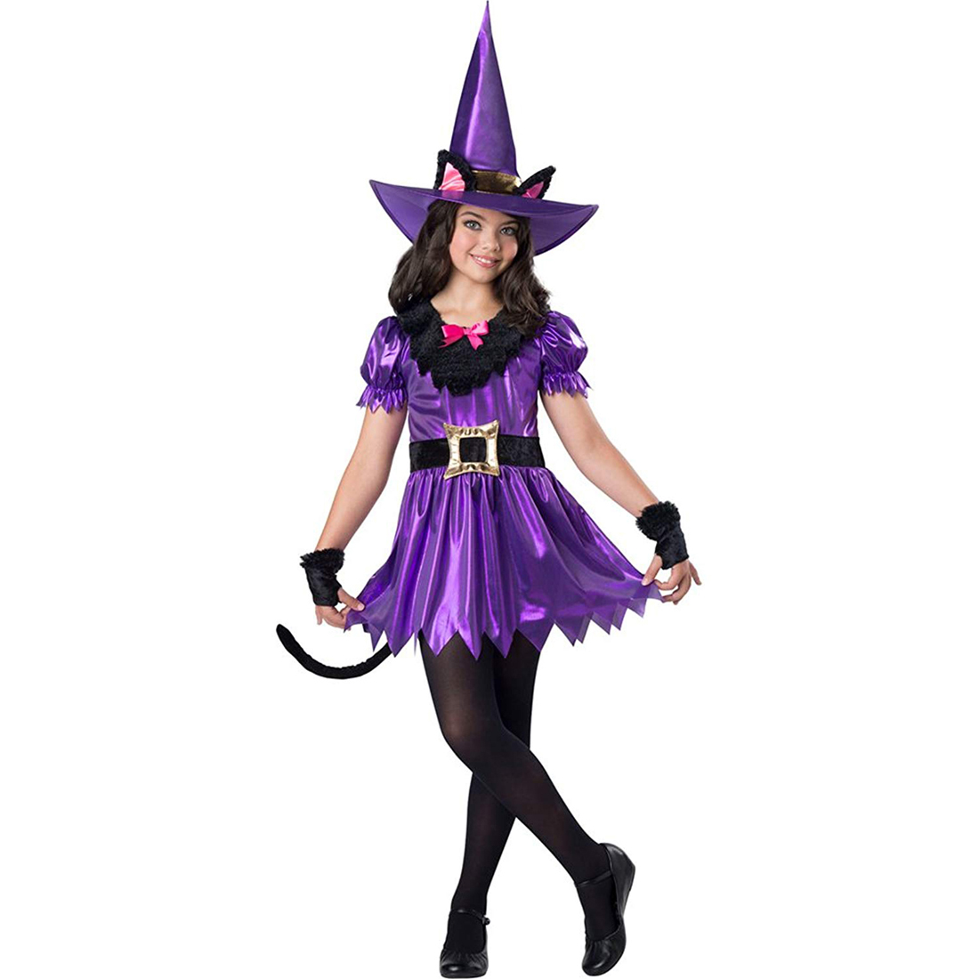Kitty Kat Witch Girls Child Animal Sorcerer Halloween Costume