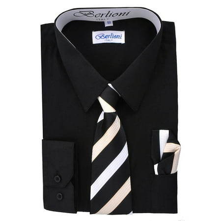 Berlioni Kids Boys Long Sleeve Dress Shirt With Tie and Hanky Black](Kids Dress Shorts)