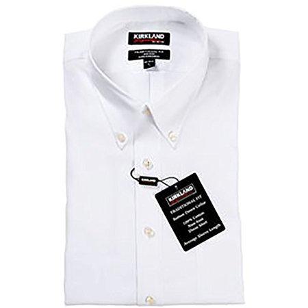 Kirkland Signature Mens Non Iron Button Down Dress Shirt Solid White  16 1 2 X 32
