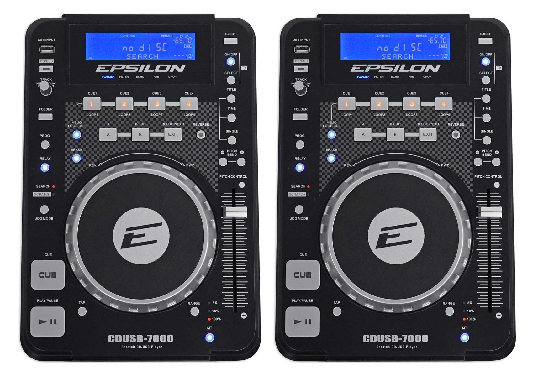 (2) EPSILON CDUSB-7000 Tabletop DJ Scratch CD MP3 USB Digital Turntable Players by Other
