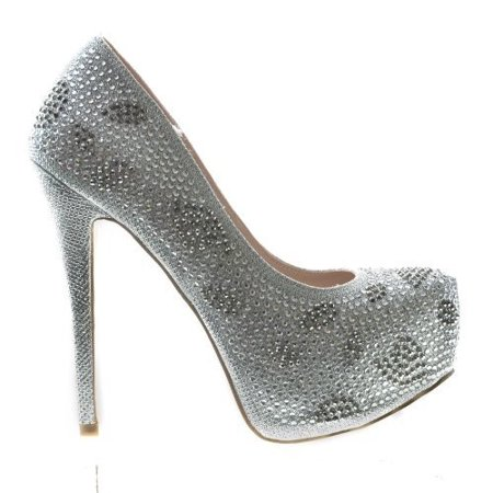 Kinko5 by De Blossom Collection, High Heel Stiletto Dress Pump Rhinestone Studded Closed Toe Women Shoe - Heel Collection