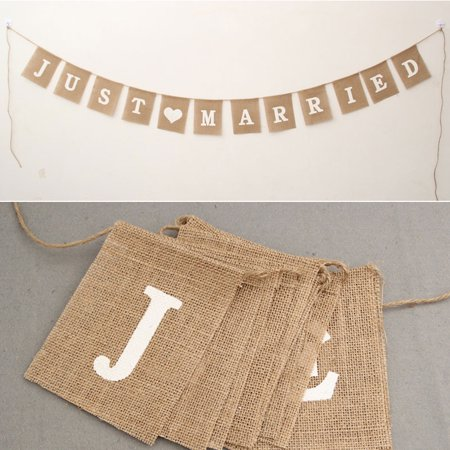 Just Married Bunting Banner Vintage Hessian Flag for Wedding Party Decoration Favor](Just Married Sign)