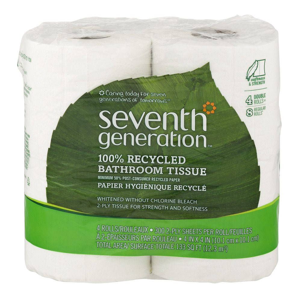 Seventh Generation 100% Recycled Bathroom Tissue Double Rolls - 4 CT