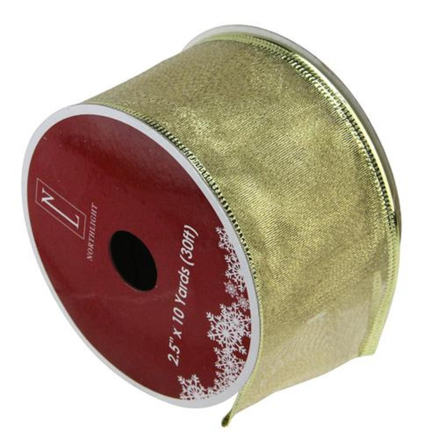 Textured Gold Wired X-mas Craft Ribbon