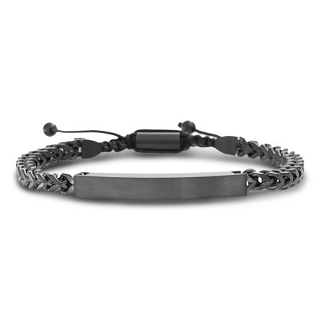 Mens Square Bar Curb Chain Adjustable Bracelet in Stainless Steel