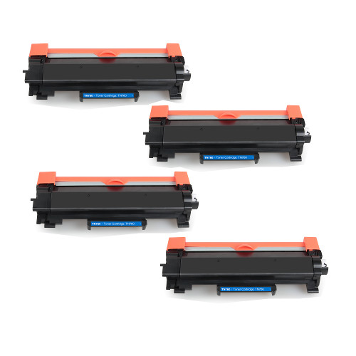 Compatible Brother TN760 toner cartridges - high capacity black - 4-pack (3,000 pages each) - Requires a Chip from your Empty Toner