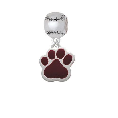 Large Maroon Paw - Softball Charm Bead