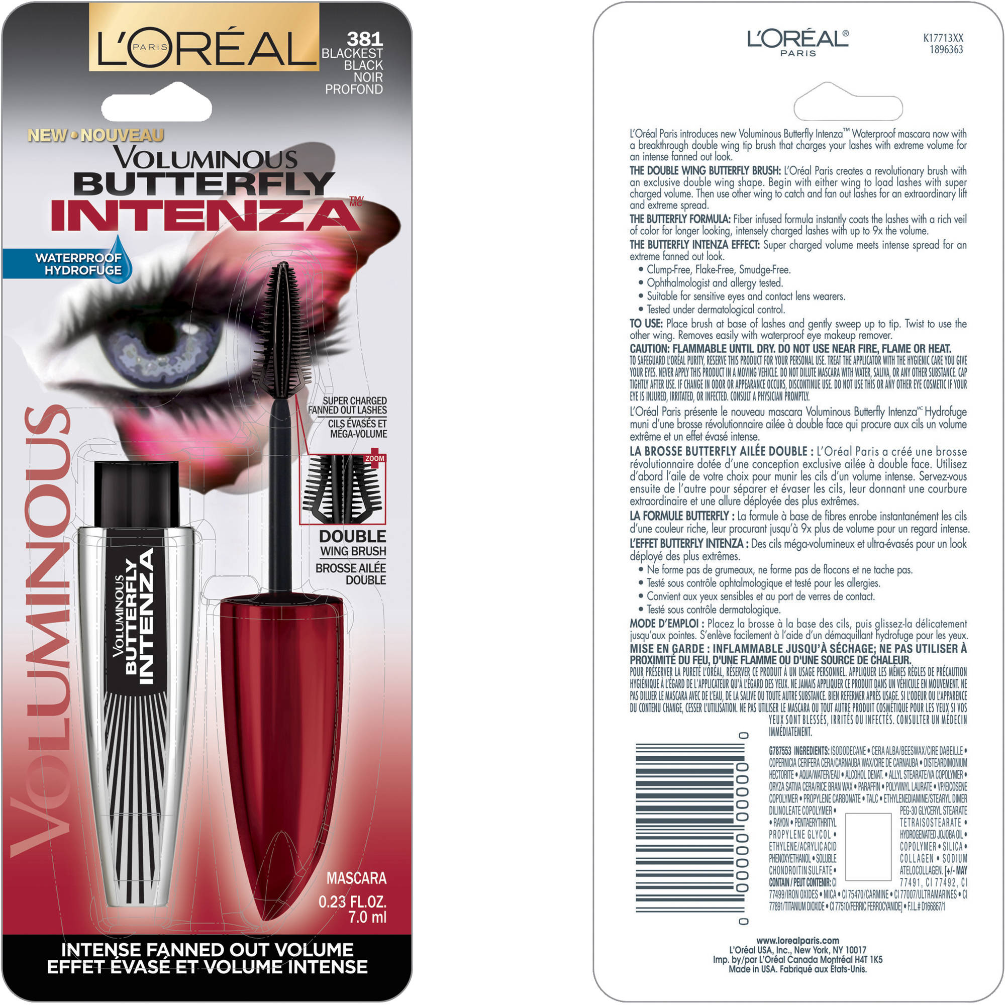 L'Oréal Paris Voluminous ButterFly Intenza Waterproof Mascara, Blackest Black, 0.23 Fl Oz