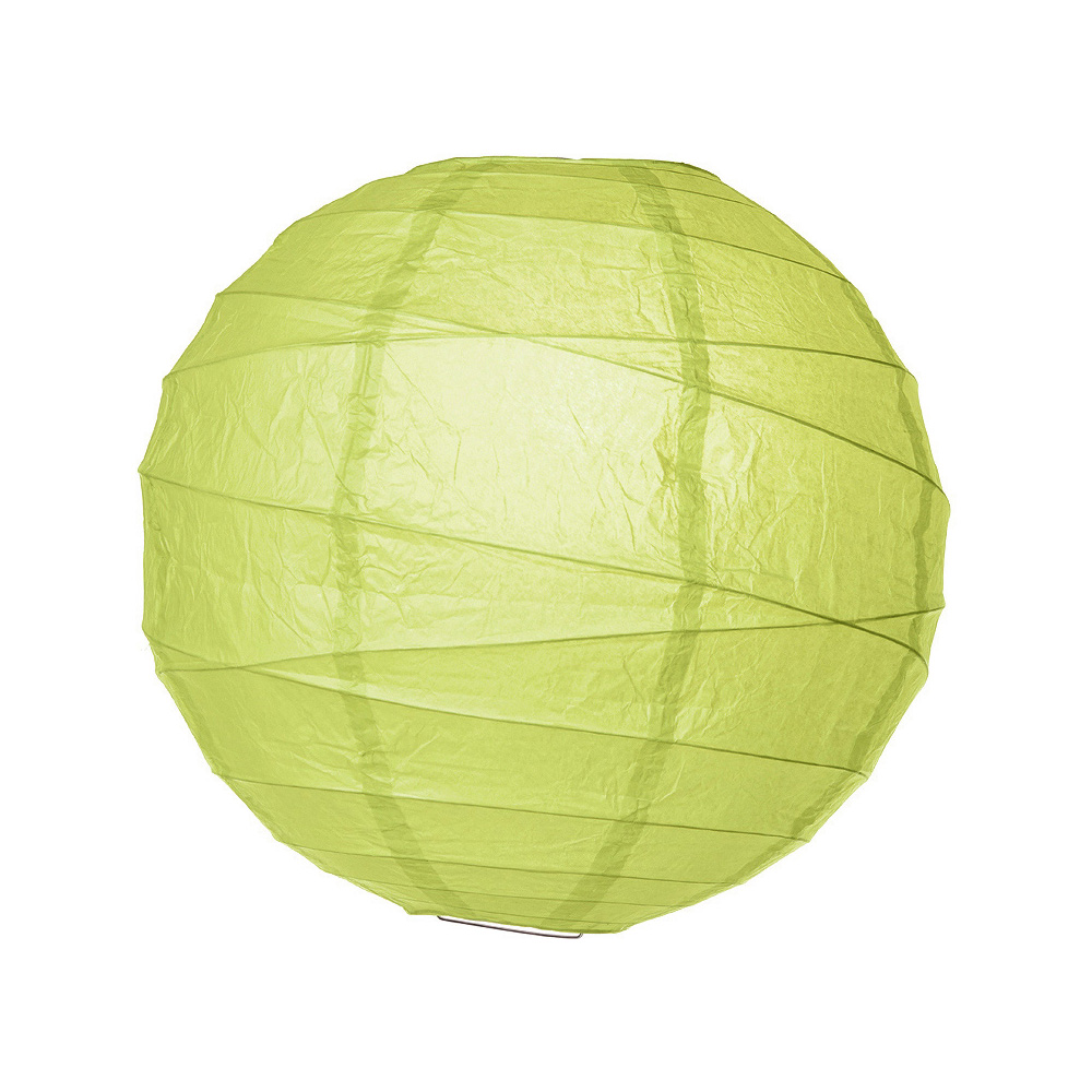 Luna Bazaar Paper Lantern (16-Inch, Free-Style Ribbed, Yellow-Green) - Rice Paper Chinese/Japanese Hanging Decoration - For Home Decor, Parties, and Weddings