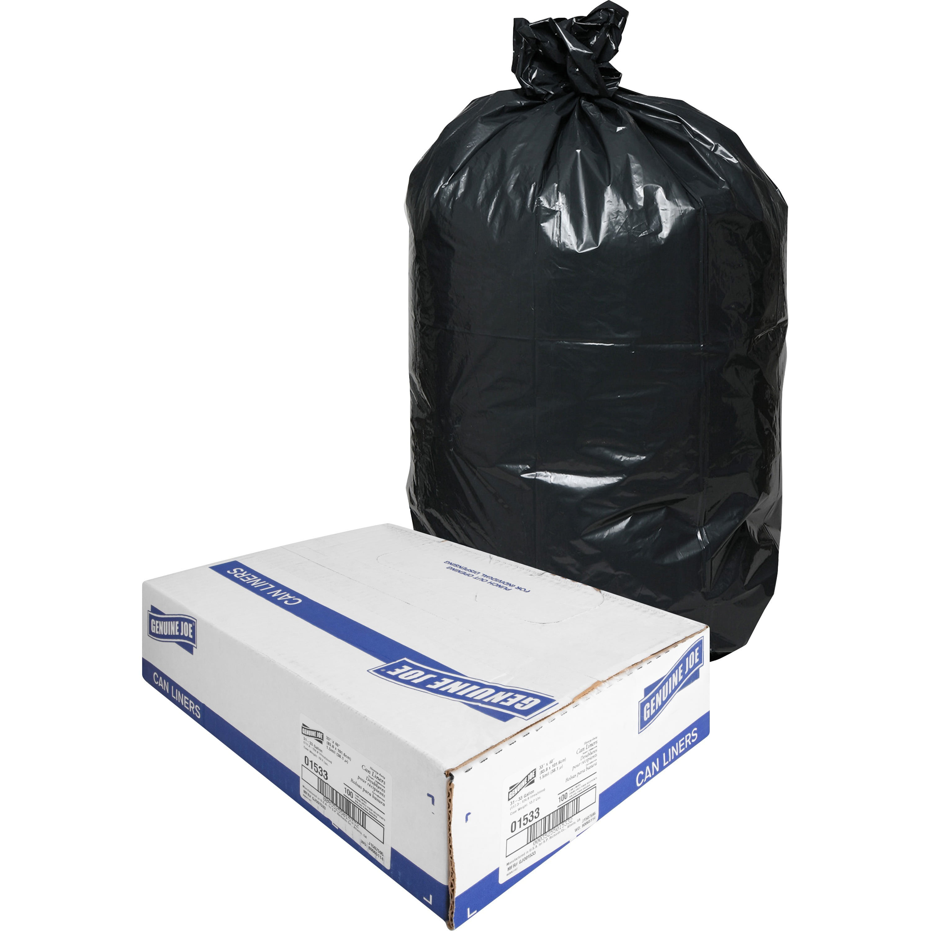 Genuine Joe Heavy Duty Trash Can Liners 33 Gal 100 Box Gjo01533 Walmart Com Walmart Com