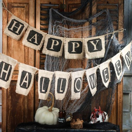 Natural Burlap Happy Halloween Banners, Natural Burlap Happy Halloween Banner Set with Jute Cord By Factory Direct Craft - Factory Direct Crafts