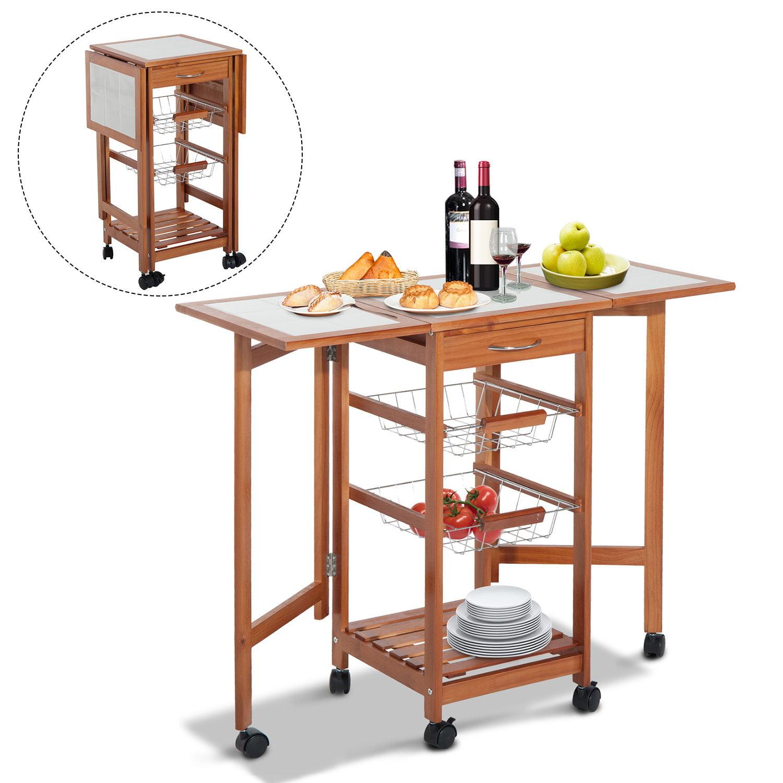 HomCom Rolling Tile Top Wooden Drop-Leaf Kitchen Trolley ...