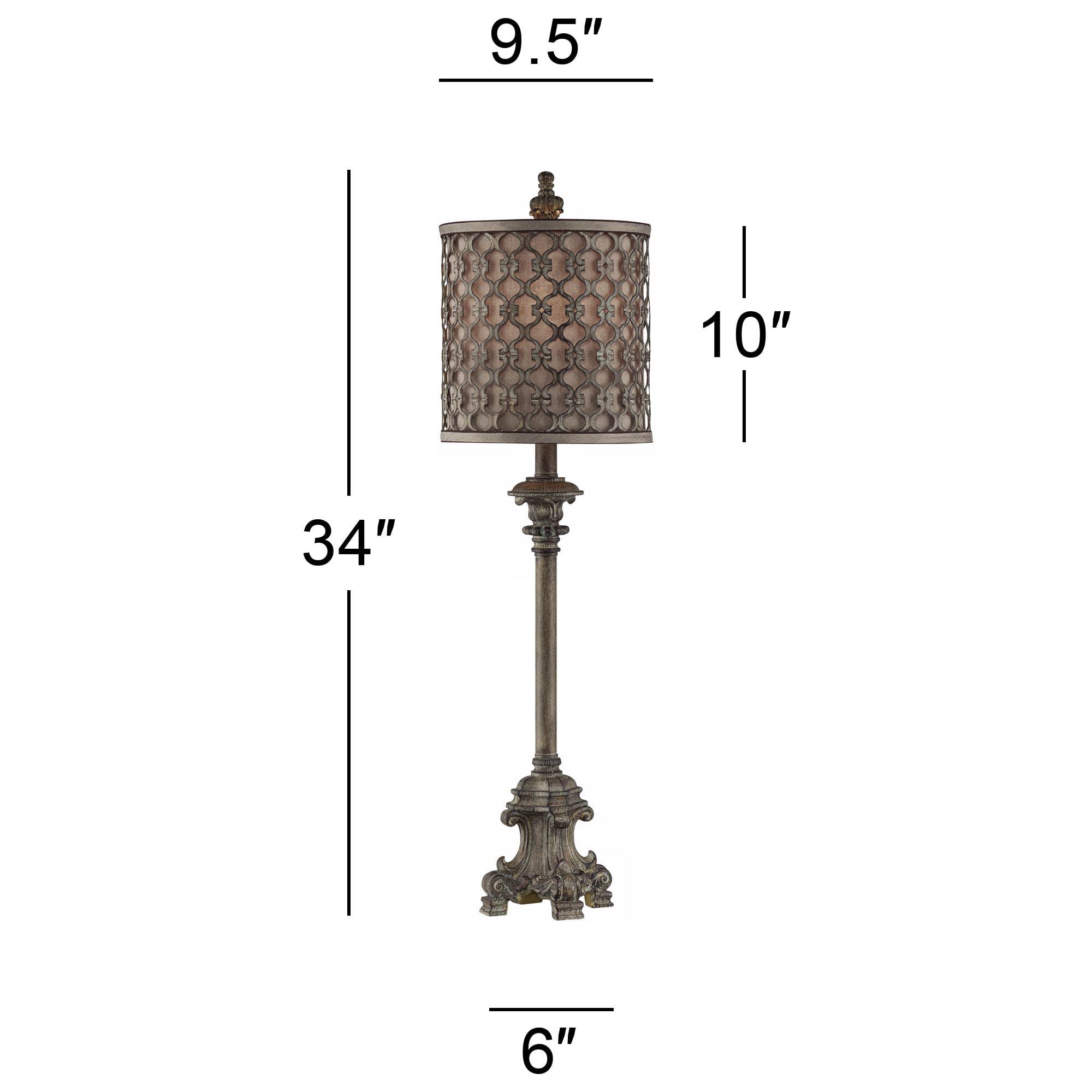 Regency Hill French Buffet Table Lamp Beige Scroll Metal Lattice Candlestick Framed Cylinder Shade For Dining Room Walmart Com Walmart Com