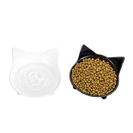 Nosii 2pcs/lot Cat Bowls Set Shallow Cat Food Bowls Eating Drinking Bowl Whisker Fatigue Stress Relief Non-Slip Cat Dishes - image 2 of 7