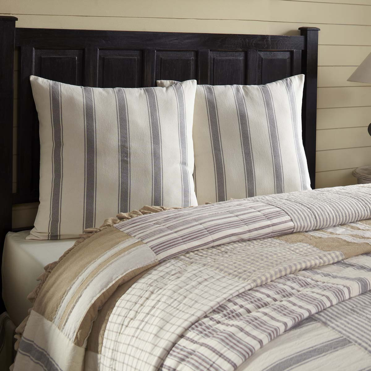 Creme White Farmhouse Bedding Vintage Stripe Cotton Striped Euro Sham