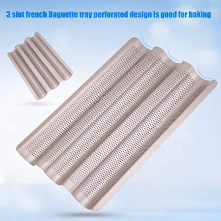 Non Stick Perforated Baguette Pan (15inch French Bread Pan Baguette Baking Tray Perforated 3-slot Non Stick Bake Loaf Mould, Non Stick Pan,Bread)