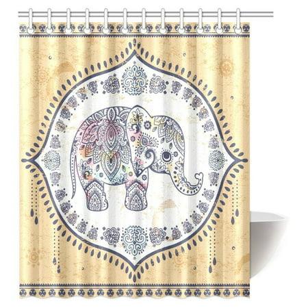 MYPOP Cute Elephant Mandala Shower Curtain Ethnic Indian Lotus Floral Paisley Bathroom With