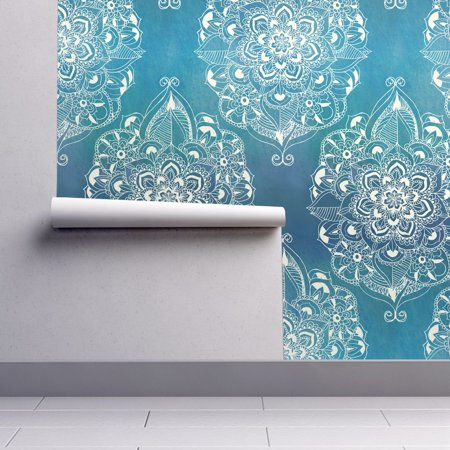 Wallpaper Roll Blue Mandalas Doodle Diamonds Ocean Art Deco Elegant 24in x 27ft (Diamond Ocean Blue)