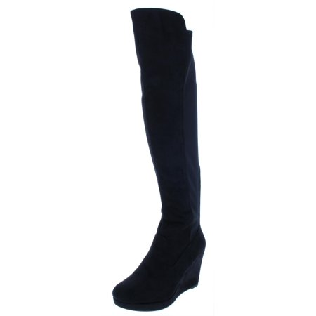 Chinese Laundry Womens Lovey Faux Suede Wedges Knee-High Boots