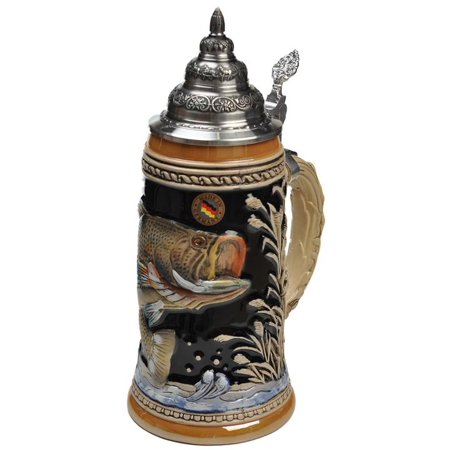 Beer Steins by King - Large Mouth Bass Fishing German Beer Stein (Beer Mug) 0.75l Limited (German Beer Stein Mug)