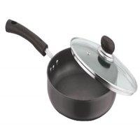 """Vinod Pearl Hard Anodised Deep Fry Pan with Glass Lid, 9.5"""", Black"""