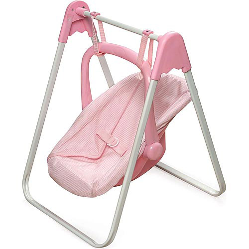 "Badger Basket Doll Swing and Carrier, Pink Gingham, Fits Most 18"" Dolls & My Life As"