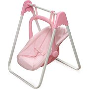 Badger Basket Doll Swing and Carrier, Pink Gingham, Fits Most 18  Dolls   My Life As