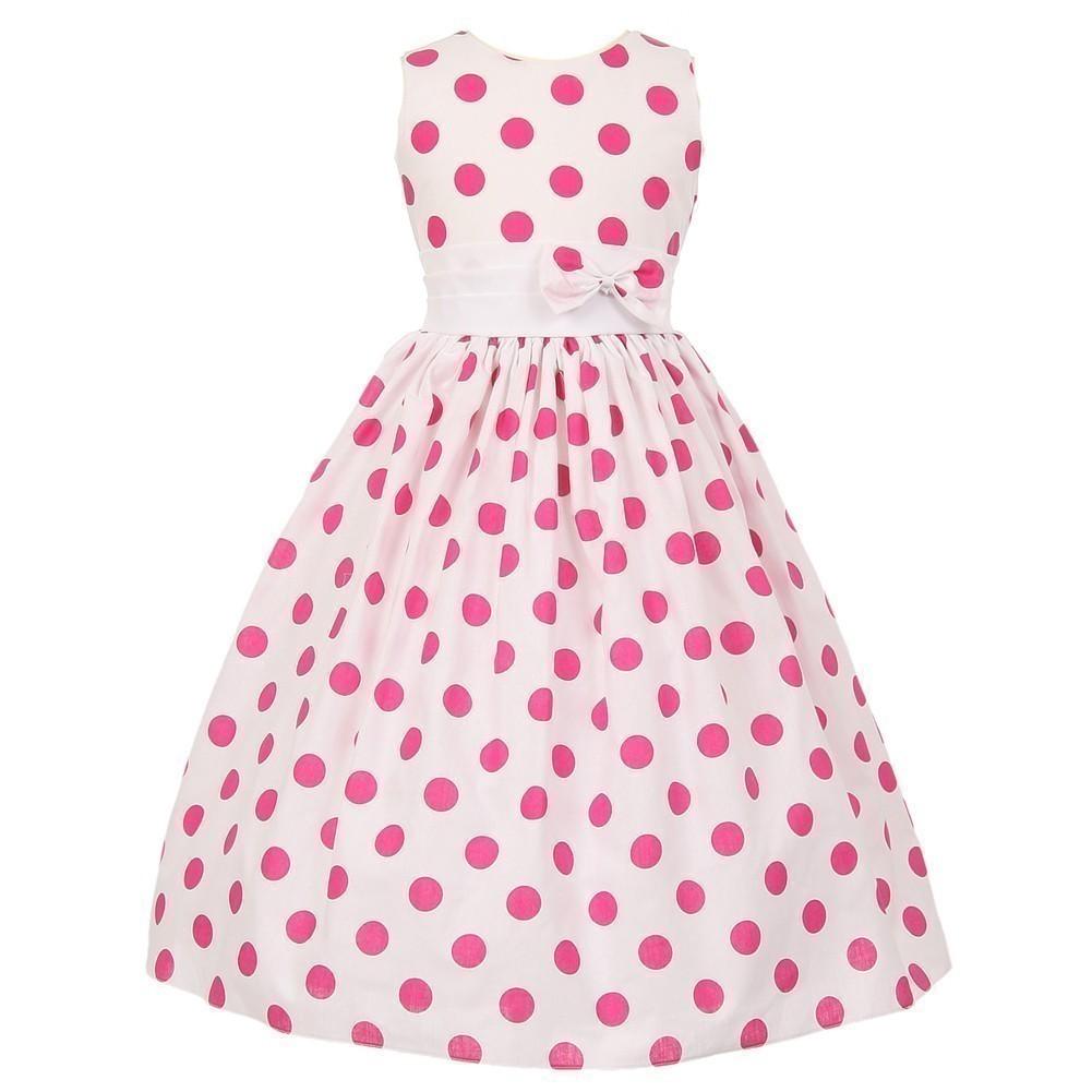 Cinderella Couture Baby Girls Pink White Polka Dot Belted: Polka Dot Easter Dresses