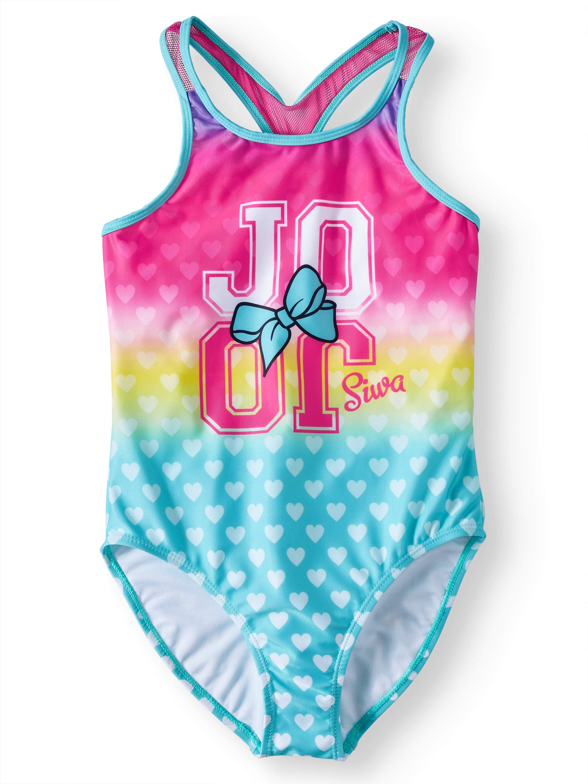 JoJo Siwa Big Girls' One Piece Swimsuit - Pink/Yellow/Blue