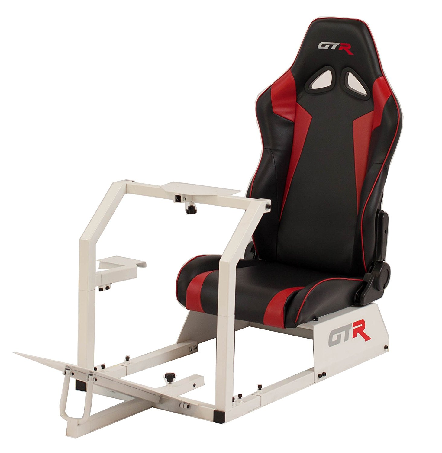 GTR Racing Simulator GTA-WHT-S105LBLKRD GTA 2017 Model White Frame with Black/Red Real Racing Seat, Driving Simulator Cockpit Gaming Chair with Gear Shifter Mount