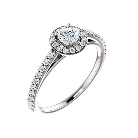Brilliant Cut CZ Accented Halo Ring 925 Sterling Silver - image 2 of 8