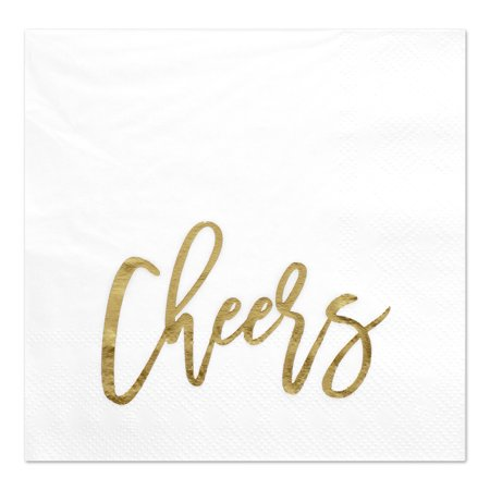 Koyal Wholesale Cheers, Funny Quotes Cocktail Napkins, Gold Foil, Bulk 50 Pack Count 3 Ply Napkins](Napkins Wholesale)