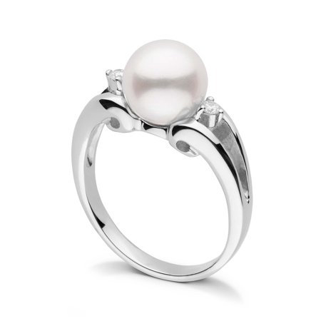 Precious Pearls Collection (Precious Collection White Freshadama Pearl and Diamond Ring in Sterling Silver)