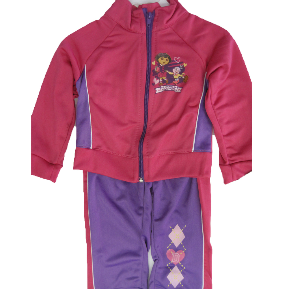 Disney Little Girls Pink Purple Dora the Explorer Zipper 2 Pc Pants Set 2T-4T
