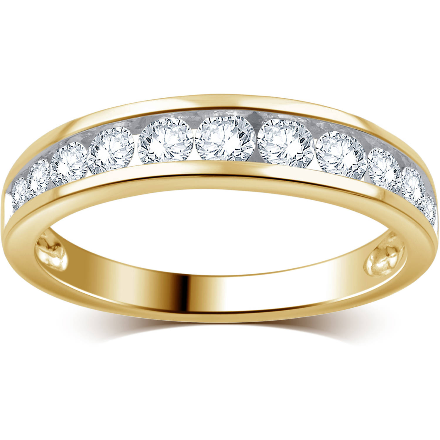 3 4 Carat T.W. Round Diamond 10kt Yellow Gold Wedding Band, I-J I2-I3 by Generic
