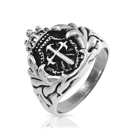 Mens Wide Royal Crown Oxidized Knight Shield Fashion Sword Cross Medieval Ring Stainless Steel (Medieval Weapons For Sale)